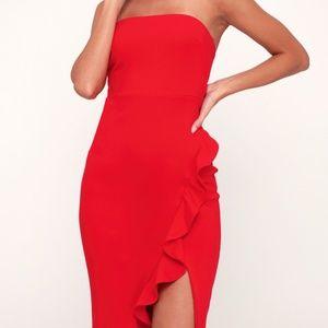 NWT LULU'S Anika Ruffled Strapless Bodycon Dress S